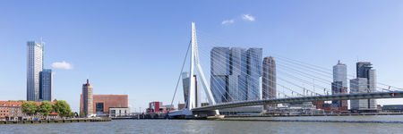 Erasmus Bridge And Skyline Of kop Van Zuid District In Rotterdam, Netherlands Redakční