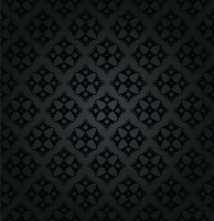 Seamless black floral wallpaper diamond pattern Vector