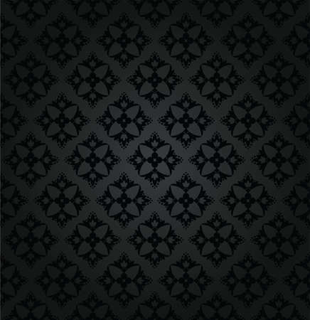 Seamless black floral wallpaper diamond pattern