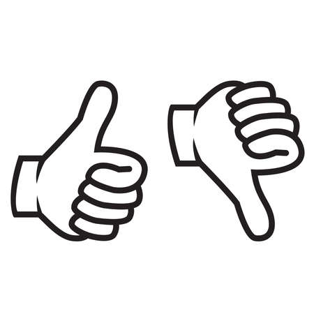 Thumbs up and down gesture Stock Illustratie