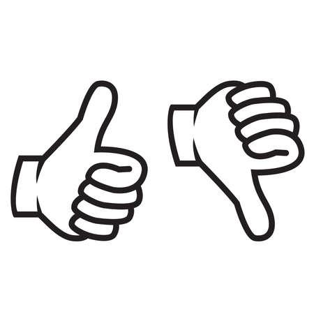 Kciuki w górę iw dół gest Ilustracje wektorowe