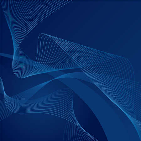 Abstract blue waves on blue gradient background