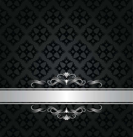 Silver banner on black floral seamless pattern