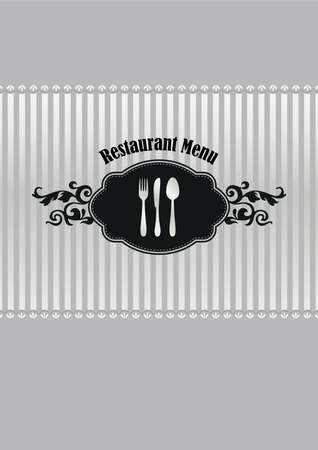 Restaurant menu cover in silver and black Çizim