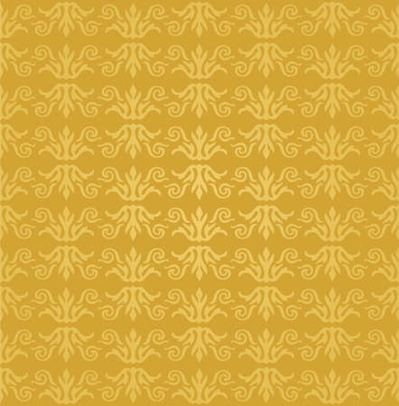 Seamless golden floral wallpaper pattern Illustration