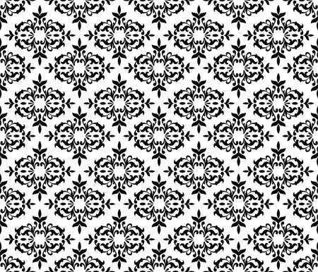 Black and white seamless floral wallpaper pattern Vector