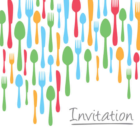 Creative invitation card design with cutlery border Çizim