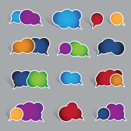 Collection of blank speech bubble labels