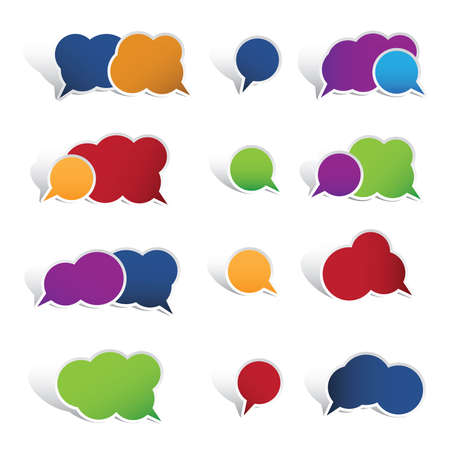 Colourful speech bubbles isolated on white background Çizim