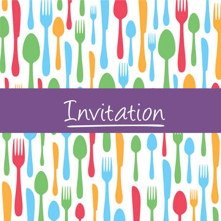 Stylish invitation card with cutlery background