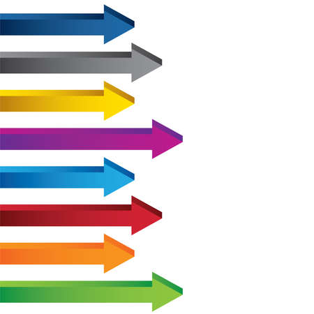 Colourful blank 3D chart arrows collection