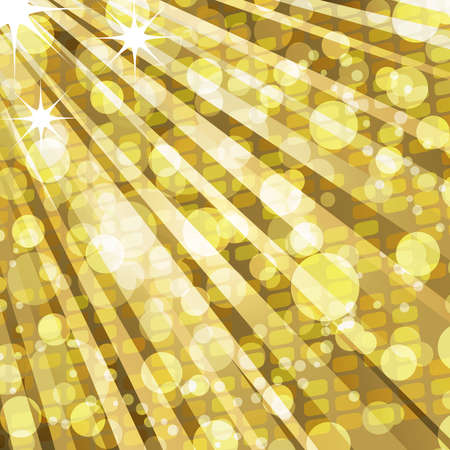 Sparkling golden lightburst background with mosaic and lights