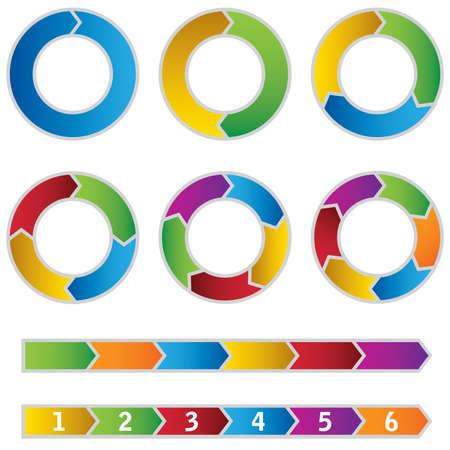 cíclico: Conjunto de diagramas y flechas de colores Círculo