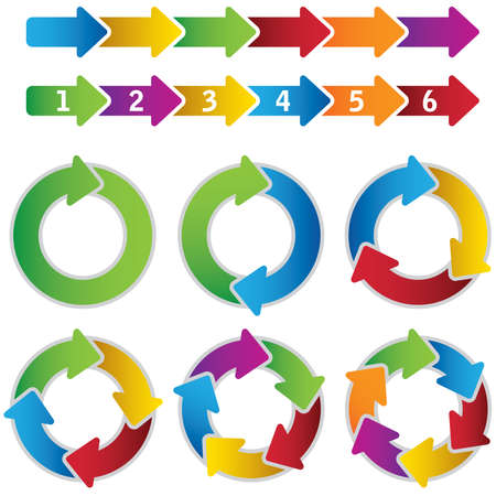 six point: Set of vibrant circle diagrams and chart arrows