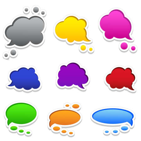 Colourful speech bubbles with white frames and shadows, set of 9.