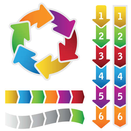 six point: Colourful circle diagram and a set of chart arrows. Illustration