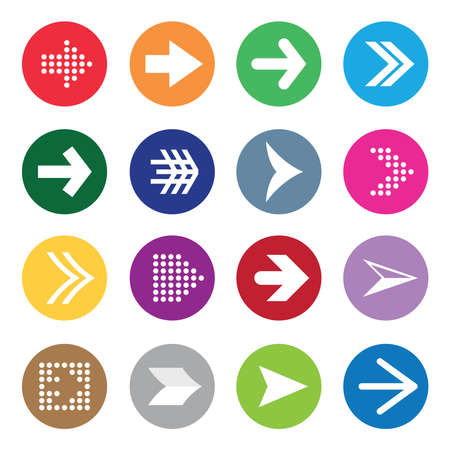 Set of arrow symbols on colour circles isolated on white background.