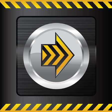 Yellow danger button on a steel background.  Illustration