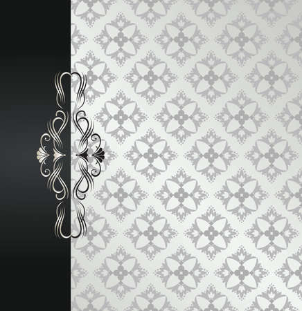 Floral silver pattern book cover with black border and scrolls.
