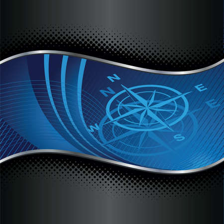 Blue compass background with silver and black borders.