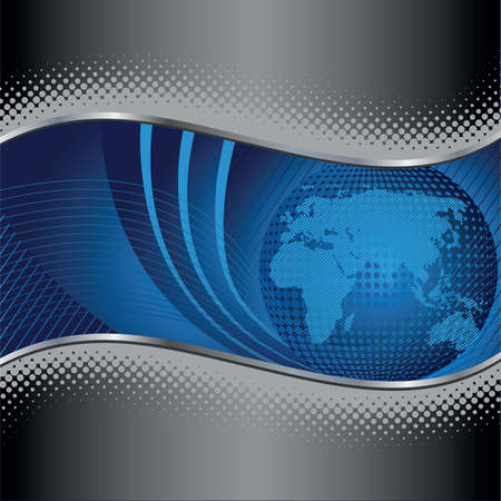 Blue globe background with silver and black borders. This image is a vector illustration. Çizim