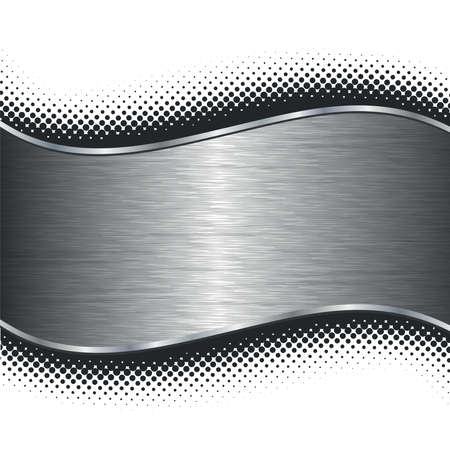 Brushed silver metal background with black halftone borders.