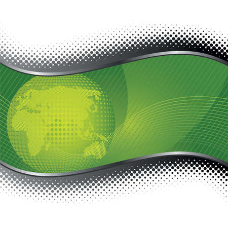 Green globe background with silver halftone borders.