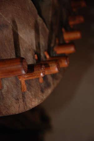 cogwheel: Wooden cogwheel Stock Photo