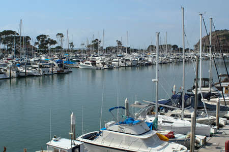Luxury boats at anchor in Dana Point Harbor, California