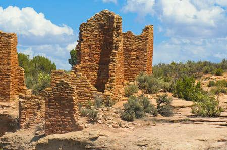 Hill-top Pueblo Indian sandstone dwellings, Mesa Verde, Colorado 1300 A D  Stock Photo