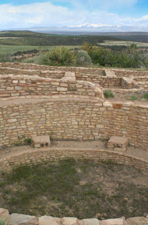 Hill-top Pueblo Indian sandstone dwellings, Mesa Verde, Colorado  photo