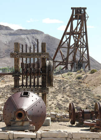 ball mill, stamp mill, head frame displayed in museum Stock Photo
