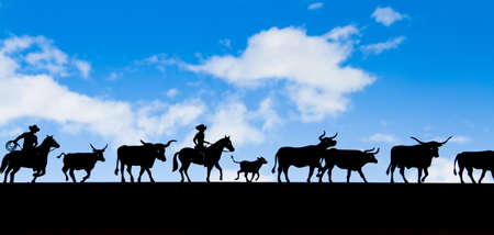 black cut out cowboy and cow figures silhouetted against cloudy blue sky