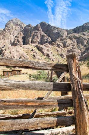 Vintage wooden cowboy ranch fence line cabin