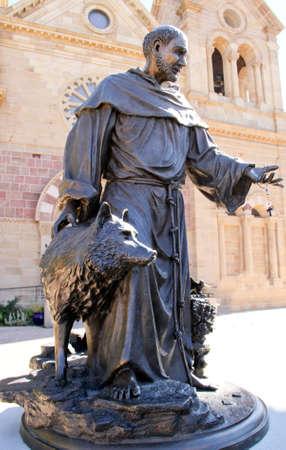 Bronze Statue of Catholic Saint with Dog