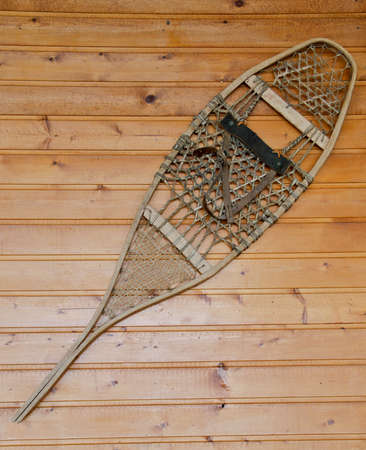 decorative wall hanging handmade vintage wood and rope snowshoe