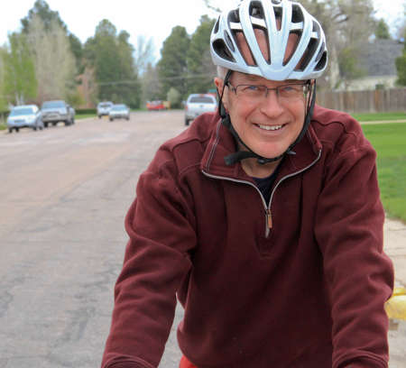 racing bike: Senior male on racing bike
