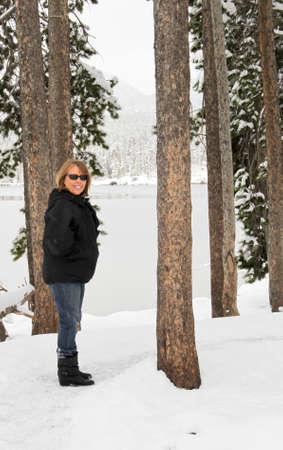Senior female on snowy trail