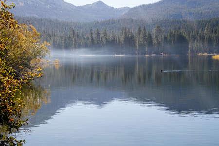 Spiegelbild der Bäume des Waldes in elektrischen blauen See Standard-Bild - 33069188