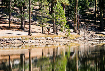 Two adult male hikers walking next to reflective mountain lake Stock Photo