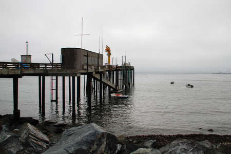 Fog shrouded old retro Arena Point, california fishing pier 版權商用圖片 - 33187491