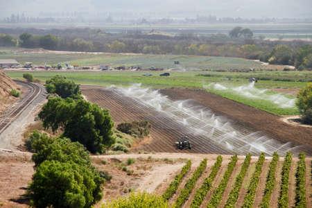 Sprinklers watering busy Calif farm with tree and vineyard