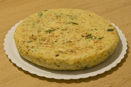 Spanish omelette on a table photo