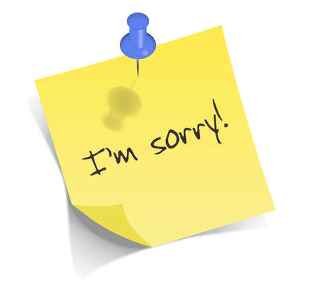 i am sorry: Yellow post-it on white background