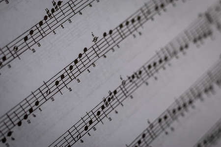 close up of sheet music digitally printed on paper