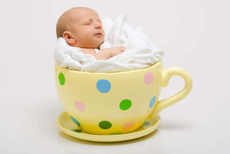 weeks: New born in yellow spotted cup Stock Photo