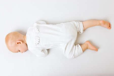 Sleeping angel boy with wings photo
