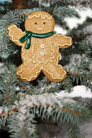 merry time: Christmas ginger bread boy on tree with snow
