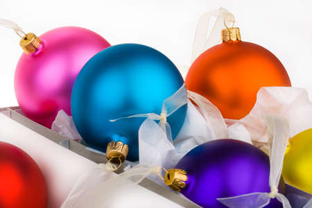 put away: Christmas baubles boxed and unboxed, put away and get them out.