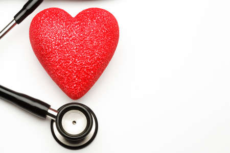 Stethoscope and red heart, health. Stock Photo - 4441125